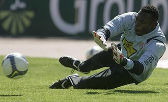 Kameni, durante el entrenamiento del Espanyol.