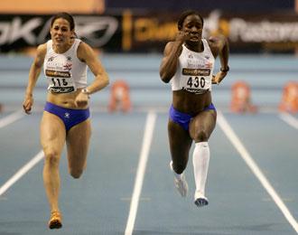 La corredora, durante una carrera en Valencia
