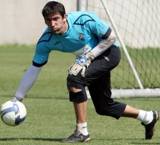 Goitia, durante un entrenamiento del Málaga.