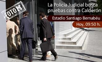 Llegada al Bernab�u de la Polic�a Judicial junto a la perito