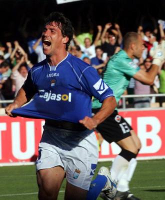 Bermejo celebra un gol.