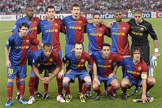 El once que aline� Pep Guardiola en la final de la Liga de Campeones posan para los medios gr�ficos.