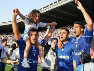 Los jugadores del Xerez celebraron la victoria como si ya hubieran logrado el ascenso.