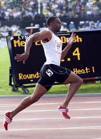 Tyson Gay, en plena competici�n en Nueva York.
