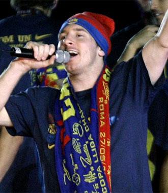 Messi, en la celebraci�n de la Champions en el Camp Nou.