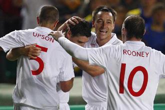 La selección inglesa celebra uno de los cuatro tantos ante Kazajistán.