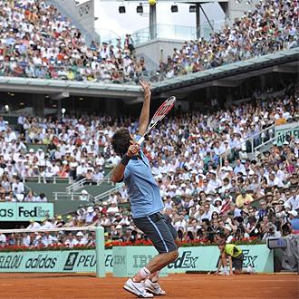 Federer, en la central de Roland Garros