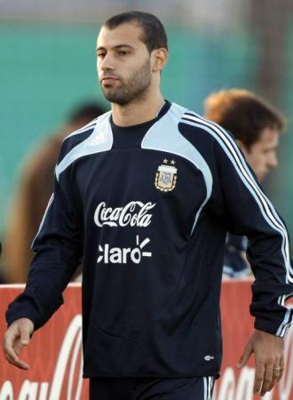 Mascherano, en un entrenamiento con Argentina.