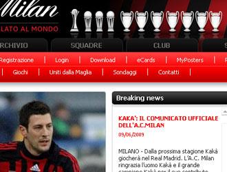 El comunicado del web del Milan
