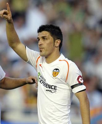 David Villa, durante un partido con el Valencia