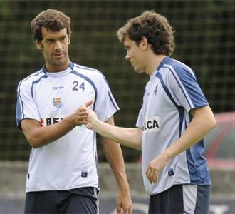 Prieto y Elustondo en un entrenamiento.
