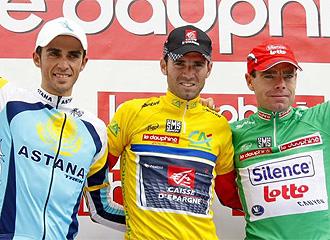 Contador, Valverde y Evans, en el podio