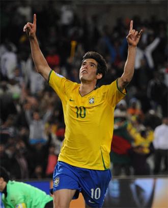 Kak� celebra el gol de la victoria ante Egipto.