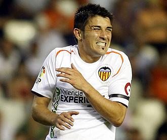 Villa jugando con el Valencia