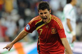 Villa celebró con rabia su gol ante Iraq