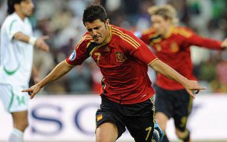 David Villa celebrando un gol con Espa�a