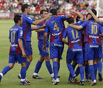 El Huesca celebra un gol ante el Sevilla Atl�tico