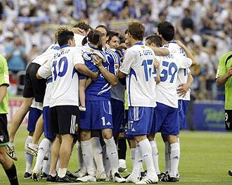 El Zaragoza celebra un gol en La Romareda