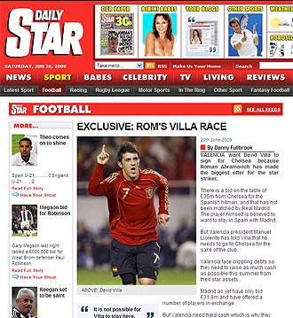 El 'Daily Star' en su edici�n digital del s�bado 20 de julio.