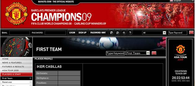 Captura de pantalla del web oficial del Manchester United