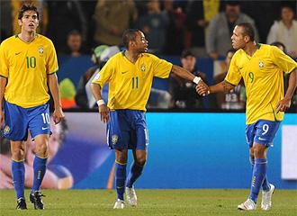 Kak�, Robinho y Luis Fabiano