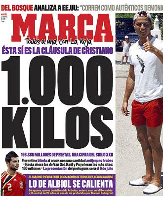 Portada del diario MARCA de este martes 23 de junio de 2009.