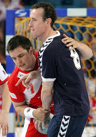 Eric Gull, de oscuro, en un partido de Argentina contra Polonia
