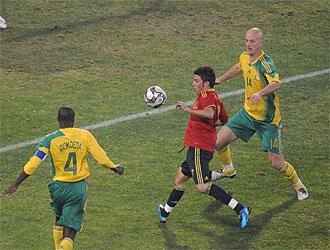 Villa remata a gol frente a Sud�frica en el partido de la primera fase.