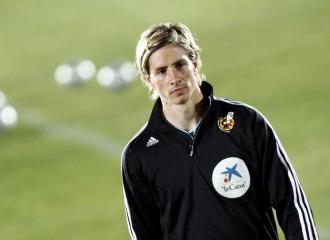 Fernando Torres, en un entrenamiento con la selecci�n espa�ola.