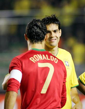 Kaka y Ronaldo, con sus respectivas selecciones.