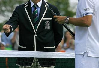 Juez de silla y tenista en Wimbledon.