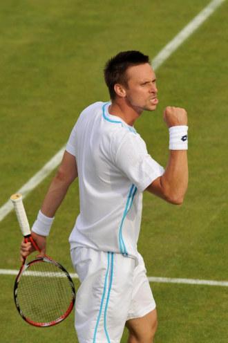 Robin Soderling tras una victoria en Wimbledon.