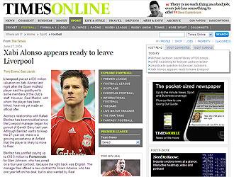 La imformaci�n de 'The Times' sobre Xabi Alonso publicada este s�bado.