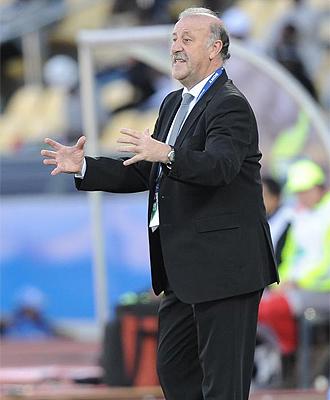 Vicente Del Bosque, durante el partido ante Sudáfrica