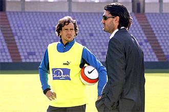 García Calvo, con Caminero durante un entrenamiento del Valladolid