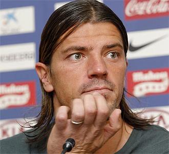 Gregory Coupet, durante una rueda de prensa con el Atlético de Madrid