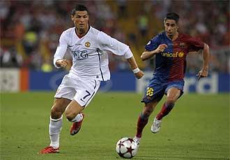 Sylvinho y Cristiano Ronaldo durante la final de la Champions.