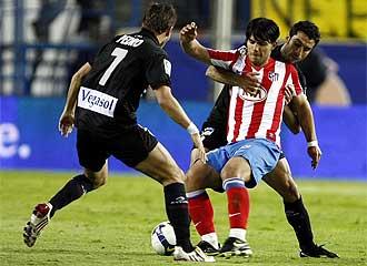 Pedro, en un partido frente al Atlético.