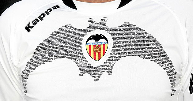 Detalle de la camiseta que lucirá el Valencia en competición europea.