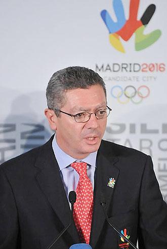 Alberto Ruiz Gallard�n durante su defensa en Lausana de la candidatura de Madrid a los JJ.OO. de 2016