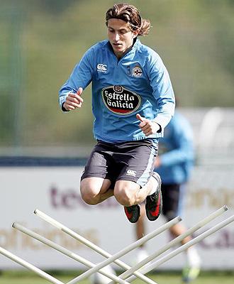 Filipe en un entrenamiento con el Depor