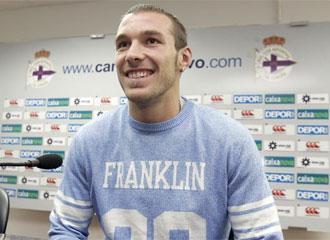 'Xisco', en una rueda de prensa con el Deportivo