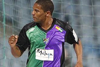 Eliseu celebra un gol en su etapa en el Málaga
