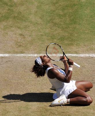 Serena, celebrando su triunfo en la hierba londinense.