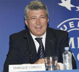 Enrique Cerezo, en la rueda de prensa de presentación de la programación de la UEFA Champions League en Telemadrid