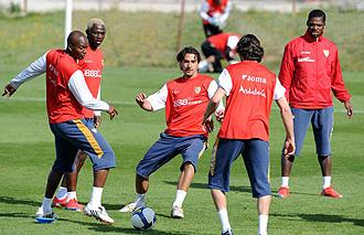 El Sevilla durante un entrenamiento