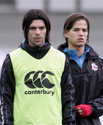 Lafita y Ze Castro durante un entrenamiento del Deportivo.