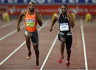 Tyson Gay y Asafa Powell en los 100 metros de Roma.