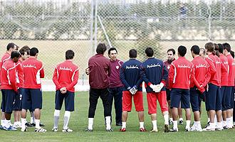 Un momento de un entrenamiento del Almería.