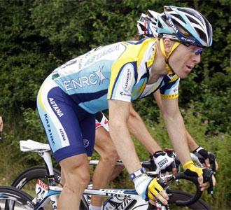 El corredor estadounidense Levi Leipheimer, durante la disputa de una etapa en esta edición del Tour de Francia